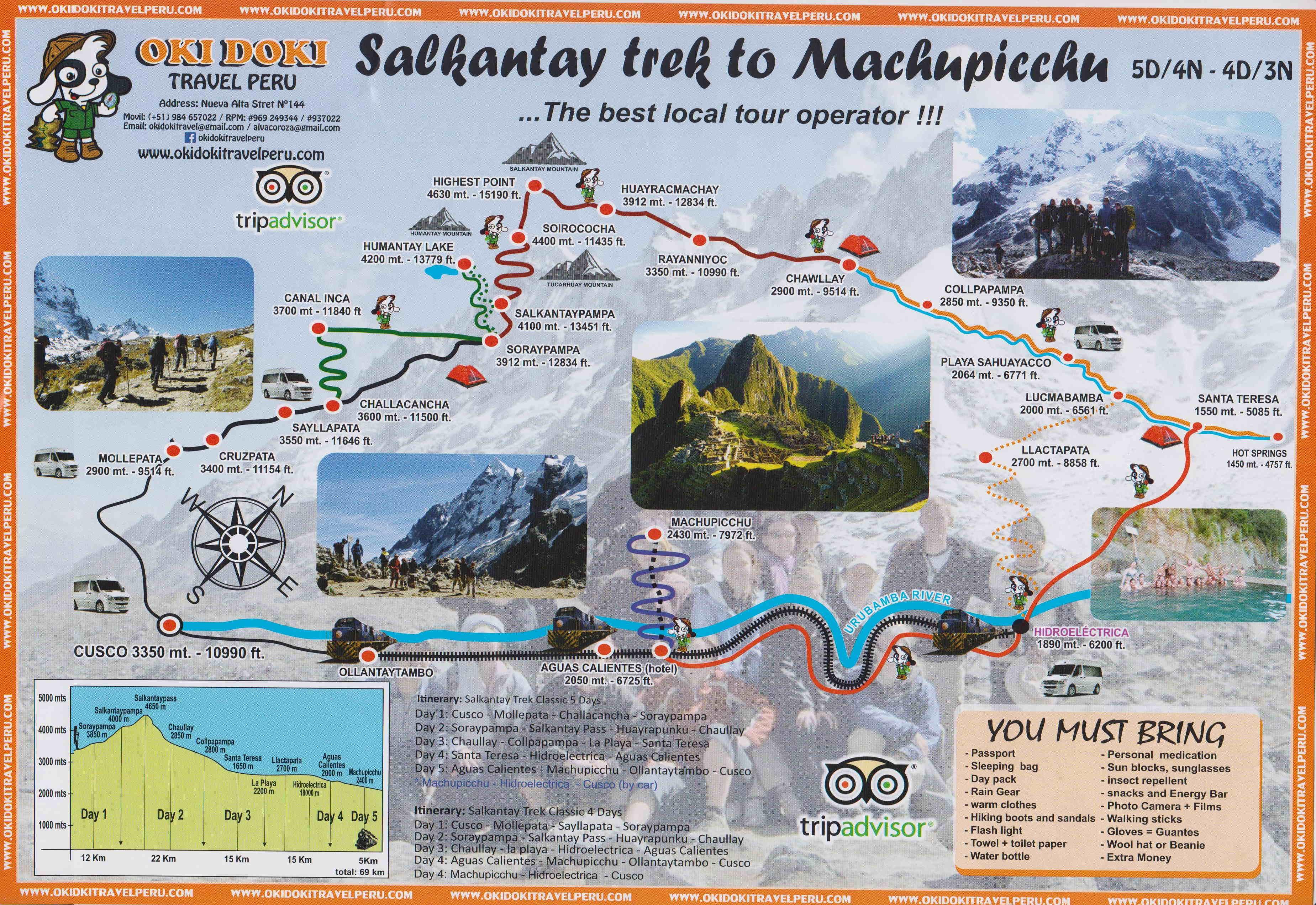 TOURS MAP: Salkantay Trek to Machu Picchu 5 days return by bus last day - Okidoki Travel Peru