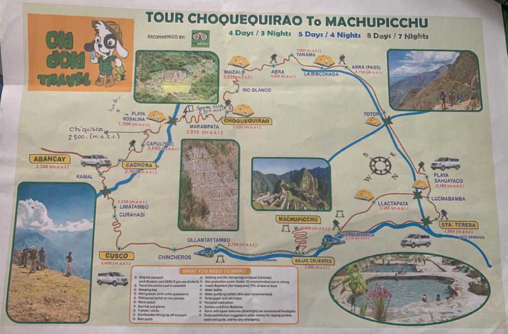 TOURS MAP: Choquequirao Trek 7 days / 6 nights - Okidoki Travel Peru