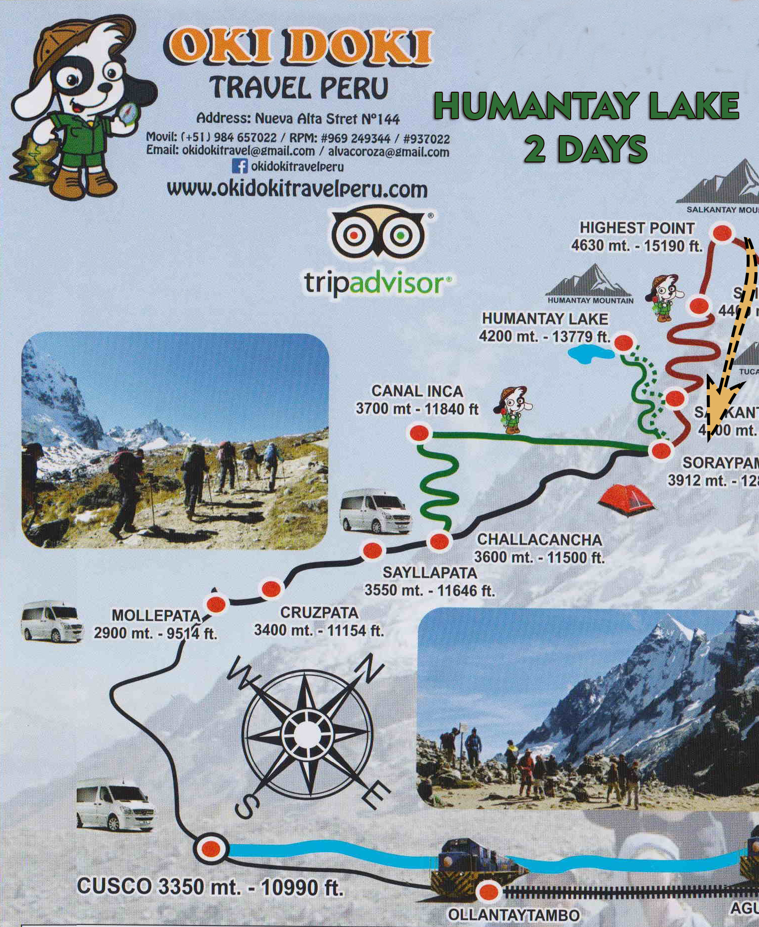 TOURS MAP: Humantay Lake Tour 2 days / 1 night - Okidoki Travel Peru